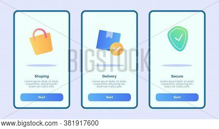 Shopping Delivery Secure For Mobile Apps Template Banner Page Ui With Three Variations Modern Flat C