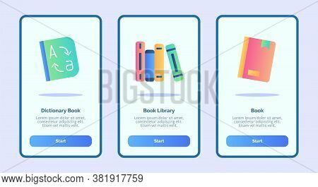 Dictionary Book Library For Mobile Apps Template Banner Page Ui With Three Variations Modern Flat Co