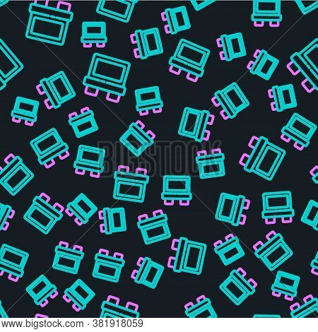 Line Fuse Of Electrical Protection Component Icon Isolated Seamless Pattern On Black Background. Mel