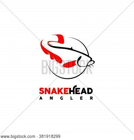 Angler Fishing Logo Simple Modern Black Snake Head Fish Vector Icon Design