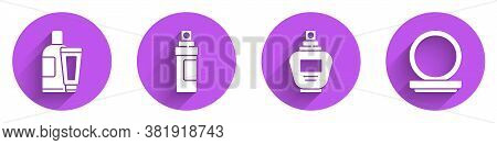 Set Cream Or Lotion Cosmetic Tube, Perfume, Perfume And Makeup Powder With Mirror Icon With Long Sha