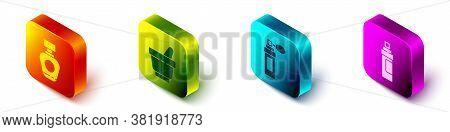 Set Isometric Perfume, Mortar And Pestle, Perfume And Perfume Icon. Vector