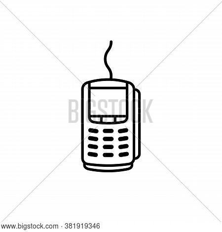 Mobile App Icon Contactless Payment Nfc Smartphone Via Pos Terminal Banner. Acquiring Bank Payment I