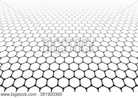 Abstract geometric hexagons pattern and grid texture in diminishing perspective.