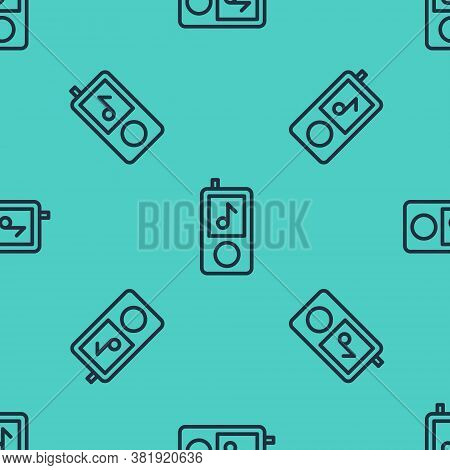 Black Line Music Player Icon Isolated Seamless Pattern On Green Background. Portable Music Device. V