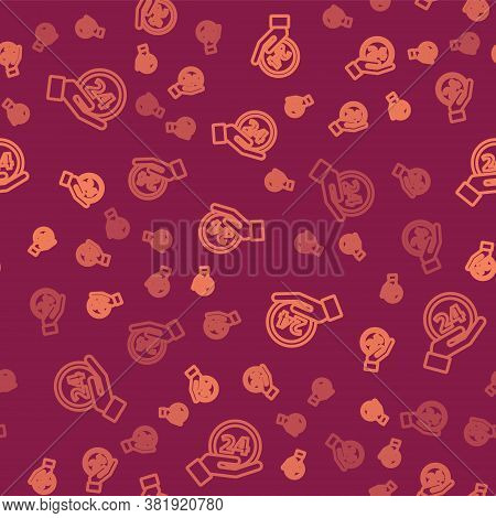 Brown Line Clock 24 Hours Icon Isolated Seamless Pattern On Red Background. All Day Cyclic Icon. 24