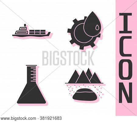 Set Oilfield, Oil Tanker Ship, Oil Petrol Test Tube And Oil Industrial Factory Building Icon. Vector