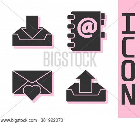 Set Upload Inbox, Download Inbox, Envelope With Valentine Heart And Address Book Icon. Vector