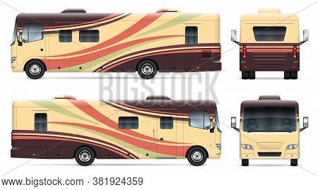 Recreational Vehicle Vector Mockup On White For Vehicle Branding, Corporate Identity. View From Side