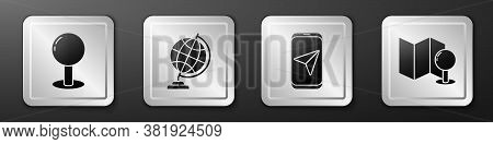 Set Push Pin, Earth Globe, City Map Navigation And Folded Map With Push Pin Icon. Silver Square Butt