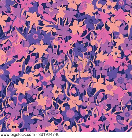 Tonal Pink Flowers Vector Repeat Pattern With Stems And Leaves. Pattern For Fabric, Backgrounds, Wra