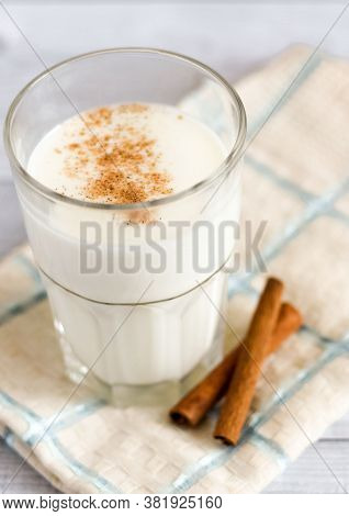 Kefir With Cinnamon In A Glass For Boost The Immune System. Immunological And Stomach Benefits, Prev