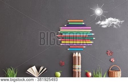 Tree Made From Stationery Supplies With Open Book And Autumn Leaves On A Chalkboard