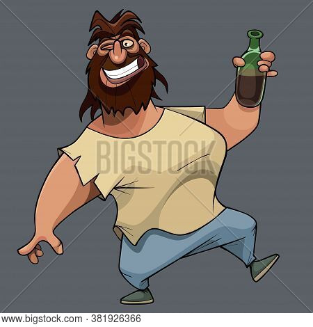 Funny Cheerful Smiling Cartoon Shaggy Bearded Man With Bottle In Hand