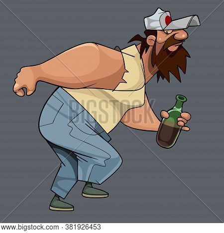 Funny Running Away Cartoon Shaggy Bearded Man With Bottle In Hand
