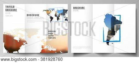 Vector Layouts Of Covers Design Templates For Trifold Brochure, Flyer Layout, Book Design, Brochure