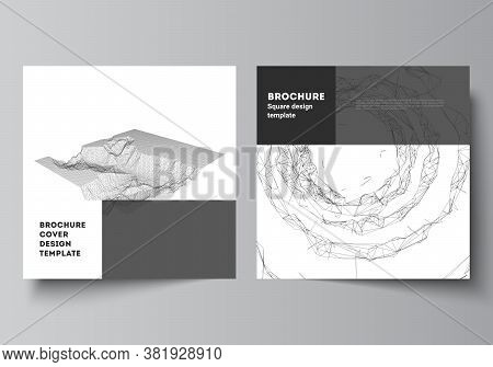 Vector Layout Of Two Square Covers Templates For Brochure, Flyer, Magazine, Cover Design, Book Desig