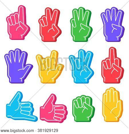Foam Fingers. Sports Fan Hand With Different Gesture. Numbers, Ok Sign And Fist, Open Palm. Stadium