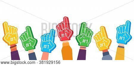 Fan Foam Fingers. Hands Up With Glove With Number One, Stadium Supporter Pride Accessory, Football V