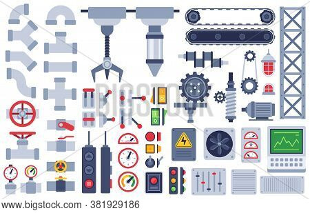Machine Parts. Auto Technical Mechanisms, Gear Equipment, Engine. Pinion And Motor, Shaft, Joints In