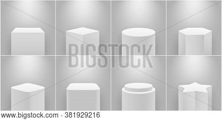 Museum Stage. Empty Product Pedestal, White Column. Platform For Exhibition, Expo Podium And Spotlig