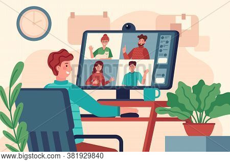 Video Conference. Men At Monitor Holds Collective Virtual Meeting, Remote Work Online Chat, Teleconf