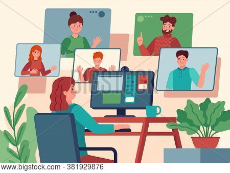 Video Conference. Woman At Home Chatting With Friends On Computer Screen, Online Communication With