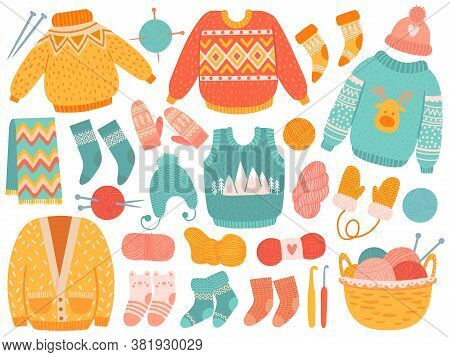 Winter Knit Clothes. Handmade Wool Clothing And Knitting Tools, Sweaters, Socks, Hats And Mitten, Sc
