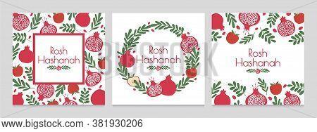 Rosh Hashanah. Jewish New Year Greeting Cards With Pomegranate And Apple. Judaism Shana Tova Holiday