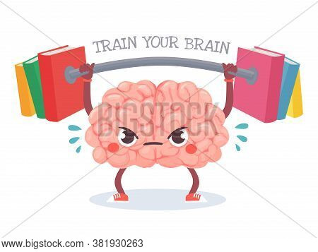 Brain Training. Cartoon Brain Lifts Weight With Books. Train Your Memory, Studying, Learning And Kno