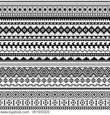 Tribal Indian Borders. Black White Geometric Pattern, Seamless Ethnic Print For Textile Or Tattoo, M