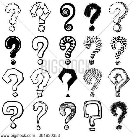 Sketch Question Mark. Hand Drawn Black Interrogation Marks, Ask Exam And Faq Symbols. Interrogative