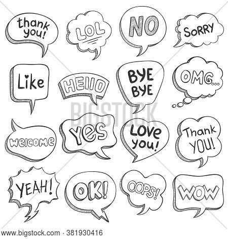 Speech Bubbles With Dialog Words. Sketch Bubble Different Shapes With Message, Short Phrases Thank Y