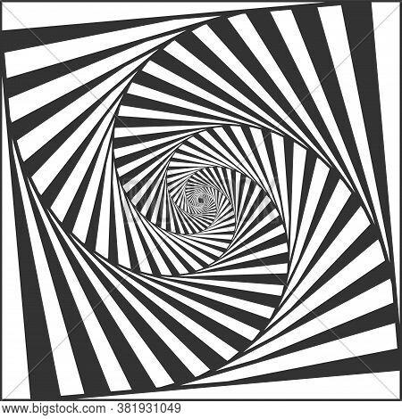 Optical Spiral Illusion. Black And White Alternating Strips Creating Hypnotic Effect, Vertigo Geomet