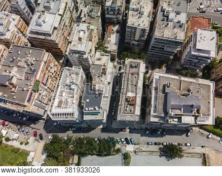 Thessaloniki, Greece Aerial Drone Landscape View Of Analipsi Borough Buildings Rooftops. Day Top Pan