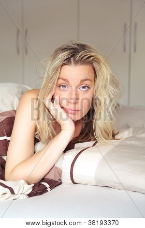 Bored Woman Confined To Her Bed