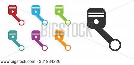 Black Engine Piston Icon Isolated On White Background. Car Engine Piston Sign. Set Icons Colorful. V