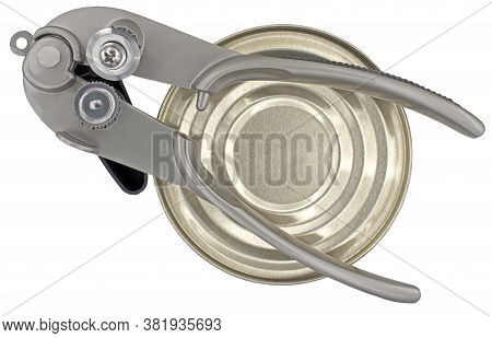 Can Opener Equipment For Opening Cans And A Tin Can Isolated On White Background