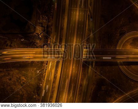 Expressway Top View Over The Highway, Expressway And Motorway At Night, Aerial View In Night