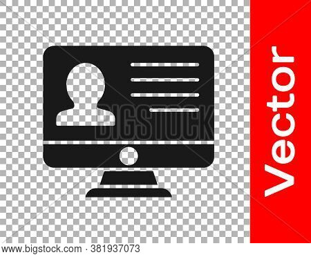 Black Computer Monitor With Resume Icon Isolated On Transparent Background. Cv Application. Searchin