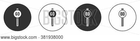 Black Speed Limit Traffic Sign 60 Km Icon Isolated On White Background. Circle Button. Vector