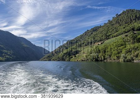 River Sil Canyon With Terraced Vineyards In The Ribeira Sacra Of Lugo, Galicia, Spain