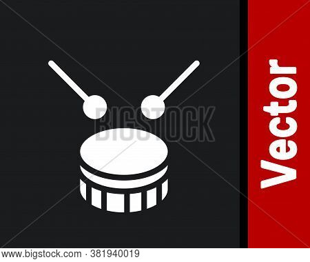 White Drum With Drum Sticks Icon Isolated On Black Background. Music Sign. Musical Instrument Symbol