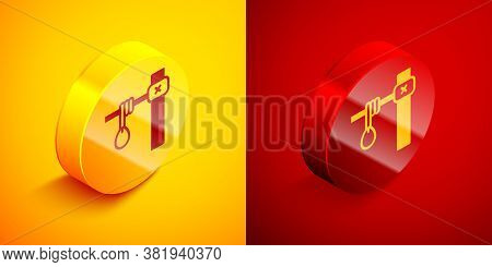 Isometric Gallows Rope Loop Hanging Icon Isolated On Orange And Red Background. Rope Tied Into Noose