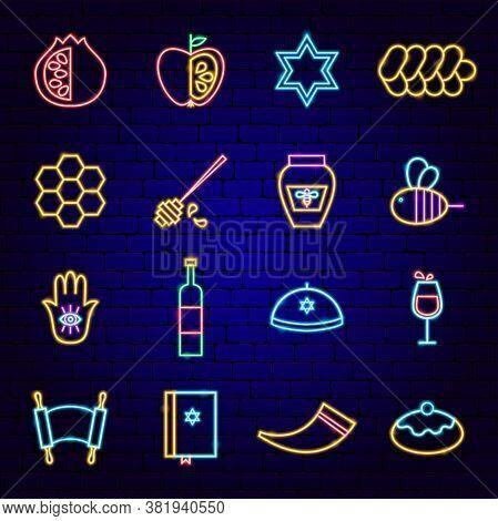 Shana Tova Neon Icons. Vector Illustration Of Rosh Hashanah Promotion.