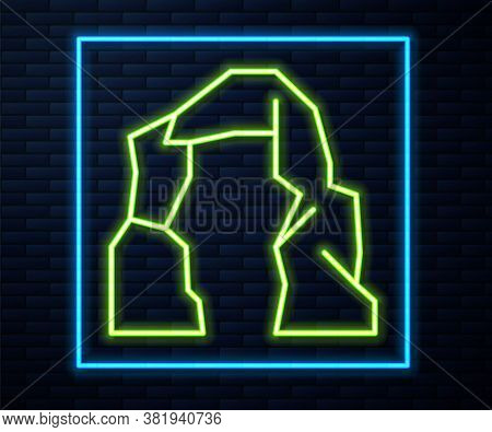 Glowing Neon Line Grand Canyon Icon Isolated On Brick Wall Background. National Park In Arizona Unit