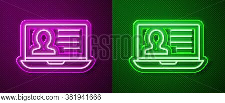 Glowing Neon Line Laptop With Resume Icon Isolated On Purple And Green Background. Cv Application. S