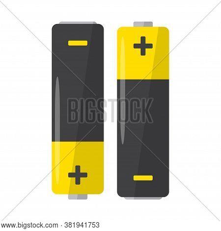Alkaline Battery On White Background. Lithium Battery Icon. Vector Illustration