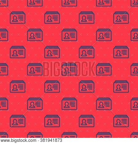 Blue Line Resume Icon Isolated Seamless Pattern On Red Background. Cv Application. Searching Profess