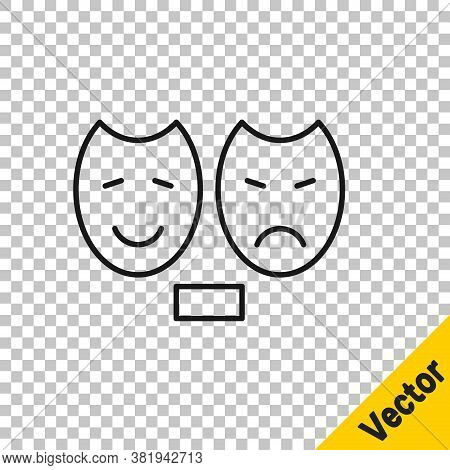 Black Line Comedy And Tragedy Theatrical Masks Icon Isolated On Transparent Background. Vector
